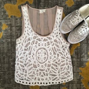 Anthro Battenberg Lace Tank